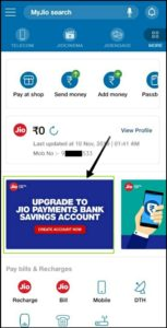 Jio Payment Bank Step 4 Upgrade to Jio Payments Bank Accpunt