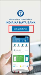 Jio Payments Bank Welcome Page