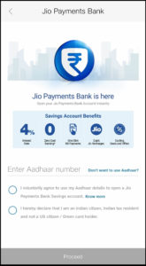 Jio Payment Bank Step 5 Enter Aadhar card